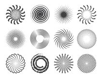 Spiral design. Circles swirls and stylized whirlpool abstract vector shapes isolated royalty free illustration