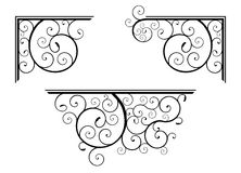 Spiral design elements. Set of classic spiral floral design elements for corner and border Stock Images