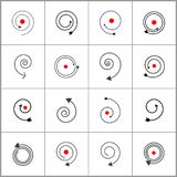 Spiral design elements. Abstract black and red icons royalty free illustration
