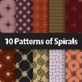 Spiral different vector seamless patterns Stock Photos
