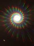 Spiral Diffraction Pattern from spiral diffraction glasses. Image taken through Education Harbour Ltd Spectrum Glasses designed for Raves, Festivals and Parties Stock Images