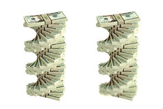 Spiral of Dollar bills Stock Images