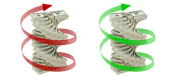 Spiral of 20 Dollar bills. 3D rendering - Spiral of 20 Dollar bills isolated on white vector illustration