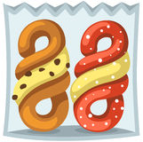 Spiral donuts in the bag Royalty Free Stock Photography