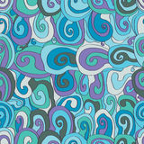 Spiral drawing seamless pattern Royalty Free Stock Photos