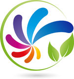 Spiral of drops in color and leaves, painter and colors logo Stock Photography
