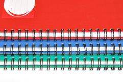 Spiral edge of three rectangular notebooks Royalty Free Stock Photo