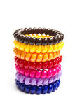 Spiral elastic rubber bands for hair. Of different colors Stock Photography