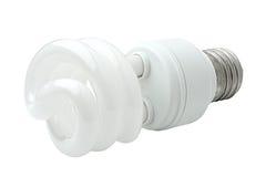 Spiral energy saving lamp. Royalty Free Stock Photos