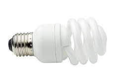 Spiral energy saving lamp. Stock Photo