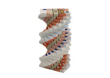 Spiral of Euro banknotes. 3D rendering of Euro banknotes Royalty Free Stock Image