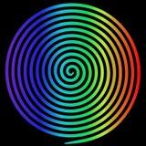 Spiral för virvel för regnbågerundaabstrakt begrepp hypnotisk royaltyfri illustrationer