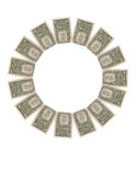 Spiral Falling dollars on white background. Business concepts stock image