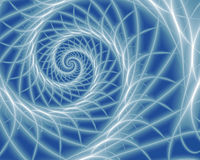 Spiral of Filaments. Abstract fractal spiral with white filaments on blue background Royalty Free Stock Photo