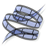 Spiral of film strip. Film rolled down on a white background. Vector illustration Royalty Free Stock Images