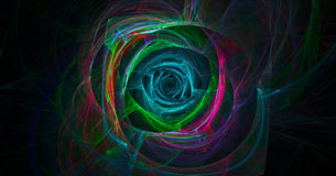 Spiral flash. Fractal glowing lines. Colored shape. The eye of the storm. Spiral light vortex. Illustration of natural phenomena. The desktop background vector illustration
