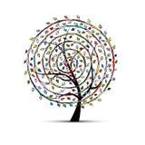 Spiral floral tree for your design. Vector illustration Stock Images