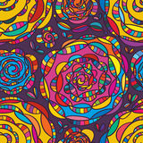 Spiral flower drawing colorful seamless pattern Stock Image