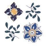 Spiral flower fractal clip art vector drawing illustration color yellow blue floral doodle creative on white background stock illustration