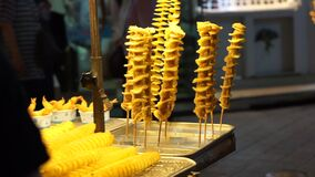 Spiral fried potato tornado Korea Seoul street food