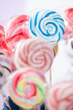 Spiral Fruit Lollipops. Spiral color Fruit Lollipops. Blue Candy Royalty Free Stock Photo