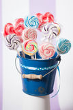 Spiral Fruit Lollipops. Spiral color Fruit Lollipops. Blue Candy Stock Photo