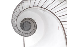 Spiral fugue perspective. Fugue perspective seen in spiral stair of lighthouse tower Stock Images