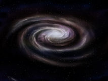 Spiral galaxy. Illustration of a deep space spiral galaxy Stock Photos