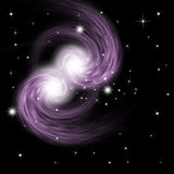 Spiral Galaxy. In black starry background Stock Photos