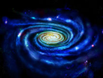 Spiral galaxy. Blue with yellow hot mid. Computer graphics royalty free illustration