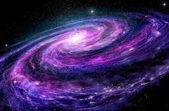 Spiral galaxy, 3D illustration of deep space Royalty Free Stock Photography