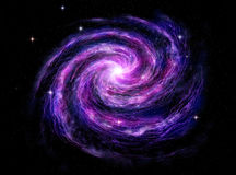 Spiral galaxy, 3D illustration of deep space Royalty Free Stock Photo