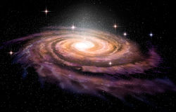 Spiral Galaxy in deep spcae. 3D illustration Stock Photography