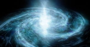 A spiral galaxy moves around Abstract space background Star space, the formation of stars and planets Deep space footage Particles