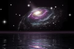Spiral galaxy over the ocean. An illustration of a spiral galaxy over the ocean royalty free illustration