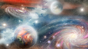 Spiral galaxy and planets Royalty Free Stock Photography
