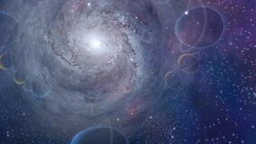 Spiral galaxy and planets