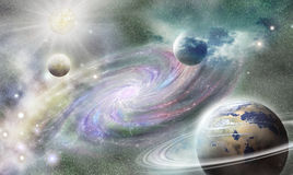 Spiral galaxy and planets in universe Stock Photos