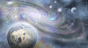 Spiral galaxy and planets  in universe Stock Image