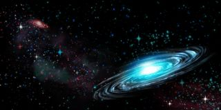 Spiral galaxy and stars on black. Illustration black sky , galaxy and stars Royalty Free Stock Image