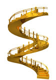 Spiral gold stair casel - 3D rendering composition. Spiral gold stair case,abstract conceptual 3D rendering composition isolated on white background Royalty Free Stock Image