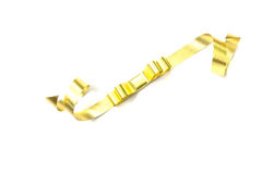The spiral golden ribbon  on white. Stock Photo