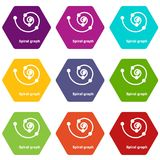 Spiral graph icons set 9 vector. Spiral graph icons 9 set coloful isolated on white for web Stock Photos