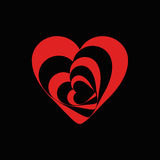 Spiral heart symbol of love red on black.  stock illustration