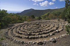 Spiral of the Holy Spirit. Crimean mountains. Spiral built by the followers modern esoteric teachings royalty free stock photography
