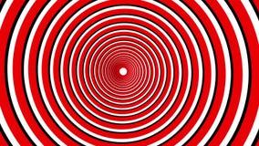 Spiral hypnotisk animering Röd och vit kretsa för svart, stock illustrationer