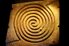 Spiral I. N rock, as part of the aztec collection of the museum of malinalco, located in the mexican state of mexico Stock Image