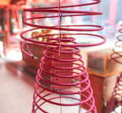 Spiral incenses for prayer in a Taoist temple Royalty Free Stock Photos