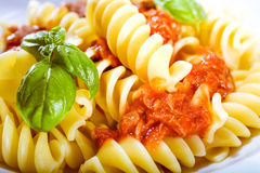 Spiral Italian noodles with pesto Royalty Free Stock Photo