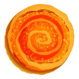 Spiral jelly biscuit icon, cartoon style stock illustration